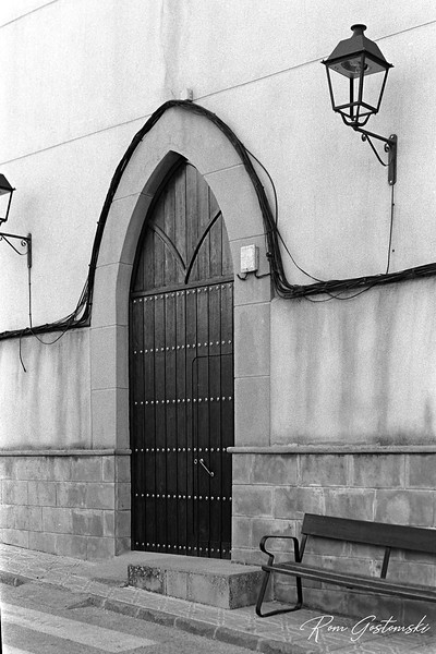 The village church door - shot with Pentax MX on Fomapan  film