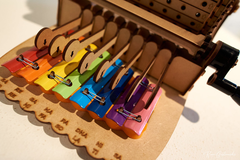Bright and colourful musical box - the xylophone playing end