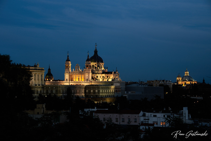 The Royal Palace and Cathedral in Madrid as seen from Templo de Debod, Parque Oeste.