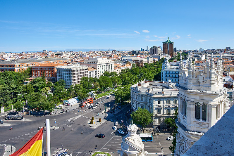 A view of Madrid from a rooftop terrace