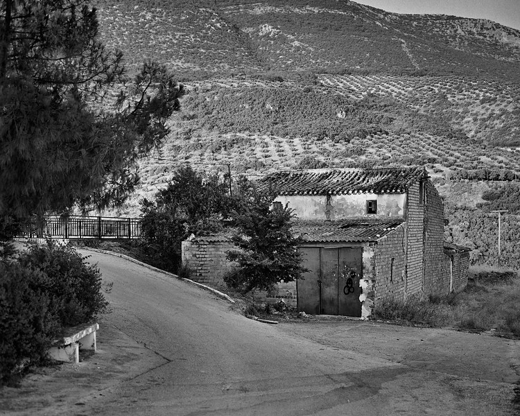 An old cortijo by the lake waiting for a new owner and renovation.- Shot with Mamiya RB67 on Fomapan