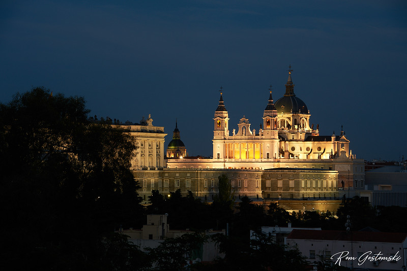 Almudena Cathedral, Madrid, Spain at night