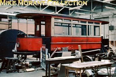 MUSEUM OF BRITISH TRANSPORT, CLAPHAM London Transport, former LCC, snow broom tram no. 022 undergoing retoration in the Museum of British Transport, Clapham on 13/7/63. [Slide taken by Mke Morant]