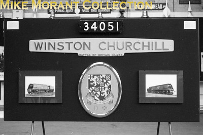 MUSEUM OF BRITISH TRANSPORT, CLAPHAM Display panel featuring Bulleid 'Battle of Britain' class pacific no. 34051 Winston Churchill. [Mike Morant]