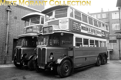 MUSEUM OF BRITISH TRANSPORT, CLAPHAM London Transport LT 165 and ST 821 double decker buses parked outside the rear of the museum in 1969. [Mike Morant]