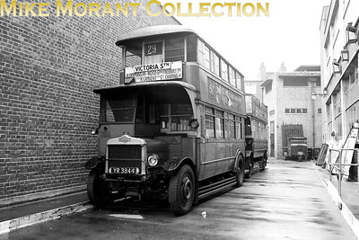 MUSEUM OF BRITISH TRANSPORT, CLAPHAM LT liveried, LGOC NS 1995 double decker bus parked outside the rear of the museum in 1969. [Mike Morant]