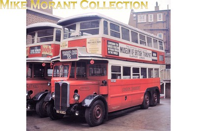 MUSEUM OF BRITISH TRANSPORT, CLAPHAM Preserved London Bus no. LT 165 standing outside the rear of the museum in 1969. [Mike Morant]