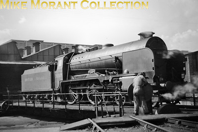 Maunsell 'Schools' class 4-4-0 no. 30917 Ardingly on the turntable at Ashford mpd on 29/8/48. The BR branding had been applied to 30917 as early as March 1948 whilst allocated to Ramsgate where she would remain until allocation to Niner Elms in March 1949. Reallocation to Brighton came in May of the same year followed by withdrawal in November 1962. [Mike Morant collection]