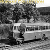 Great Northern Railway (Ireland) railbus no. 1 of 1934 vintage leaves the branch terminus at Oldcastle for Drogheda on 12/6/52. These railbuses had been the mainstay on the branch's passenger sertvices and would remain so until the branch was closed to passenger traffic in April 1958. Goods traffic would continue until 1963.<br> It's worth mentioning that the station building and wooden train shed are apparently extant and in a good state of repair.<br> [<i>Mike Morant collection</i>]
