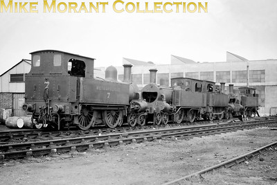 A line-up of four withdrawn Metropolitan Railway Beyer Peacock built 'A' class 4-4-0T's at Neasden depot on 6/6/1924. From left to right they are nos. 7, 26, 42 and 44. Nos. 26 & 42 would soon be scrapped but no. 7 would be sold to the Mersey Railway and see service there until 1939 whilst no. 44 would be sold to Pelaw main colliery in Co. Durham where it would work until 1948. [Mike Morant collection]
