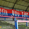 A flag in the terrace prior to the Vanarama Conference Premier match between Aldershot Town and Eastleigh at the EBB Stadium Aldershot (photo by Paul Paxford/Pitchside Photo)