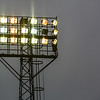 Floodlights are turned on prior to the Vanarama Conference Premier match between Aldershot Town and Eastleigh at the EBB Stadium Aldershot (photo by Paul Paxford/Pitchside Photo)