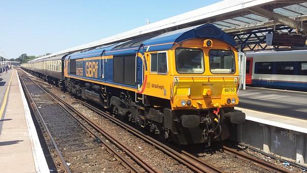 66755 at Weymouth on a GBRf Staff Charter. 30.06.18