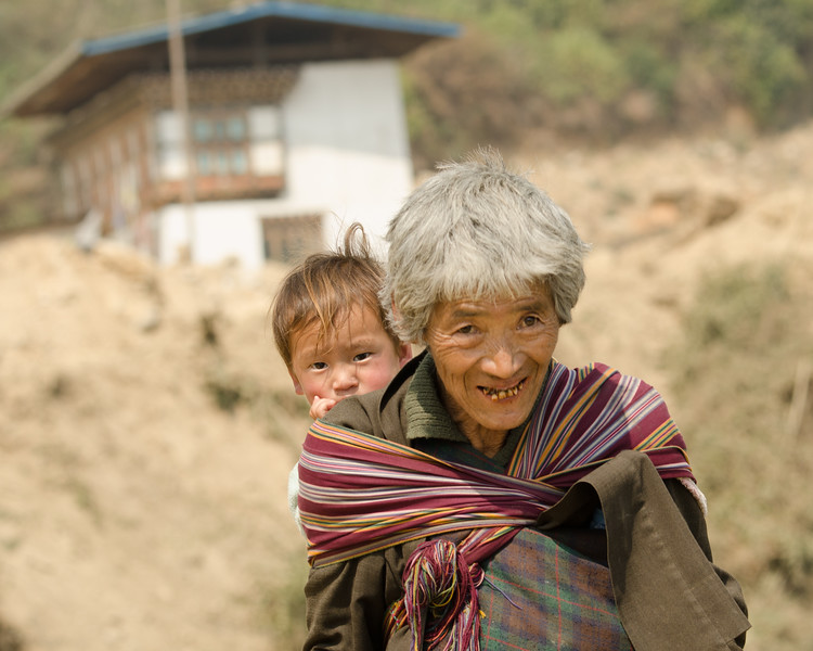 Old Woman with Child, Bhutan