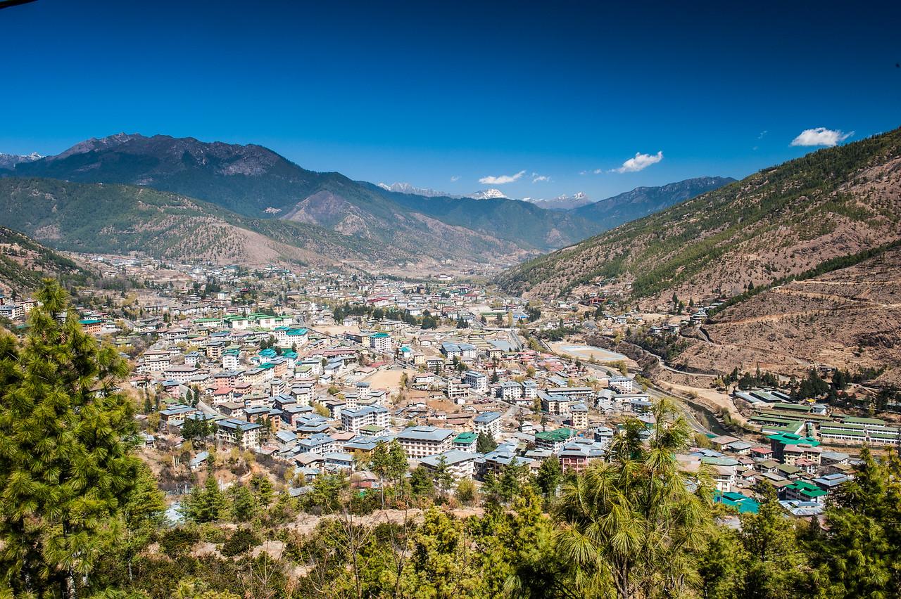 View of Thimphu, Bhutan from Buddha Statue