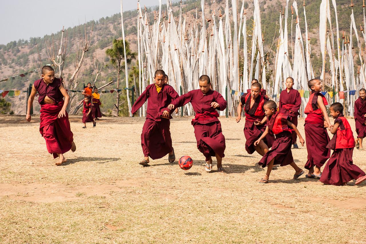 Monks Enjoying a Soccer Match