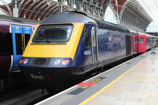 43024 at London Paddington on arrival on 1A09 0713 from Taunton. 14.11.17