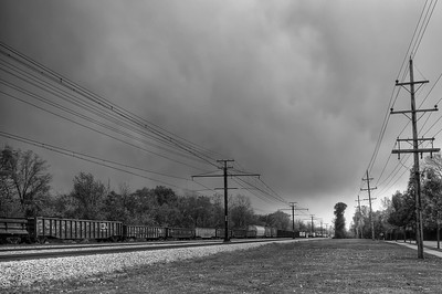 Flossmoor -- Freight Train and Sky, 7 exposures, HDR and tone mapped, adjusted levels, b&w high structure via Silver FX, sharpening, noise reduction.