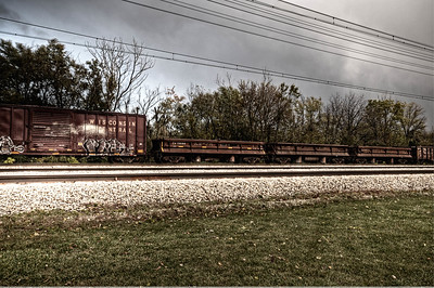 Flossmoor - Wisconsin Central Freight, 7 exposures HDR and tone mapping, levels, bleach bypass, sharpening