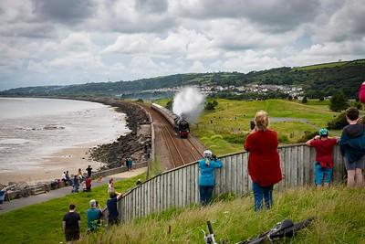 Steam engine Britannia 70000 passes through Llanelli, Wales