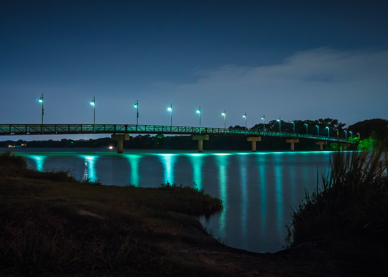 The Night Lights of White Rock Lake Bridge
