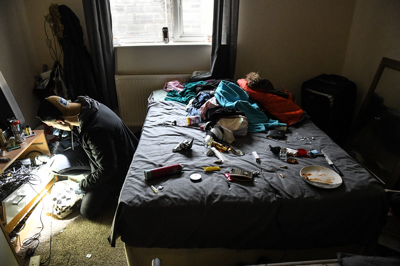 5th April 2019, Swansea<br /> *******NO BYLINE******<br /> <br /> <br /> Police make an early morning raid on a house in the High Street area of Swansea after intelligence of drug use in the property.