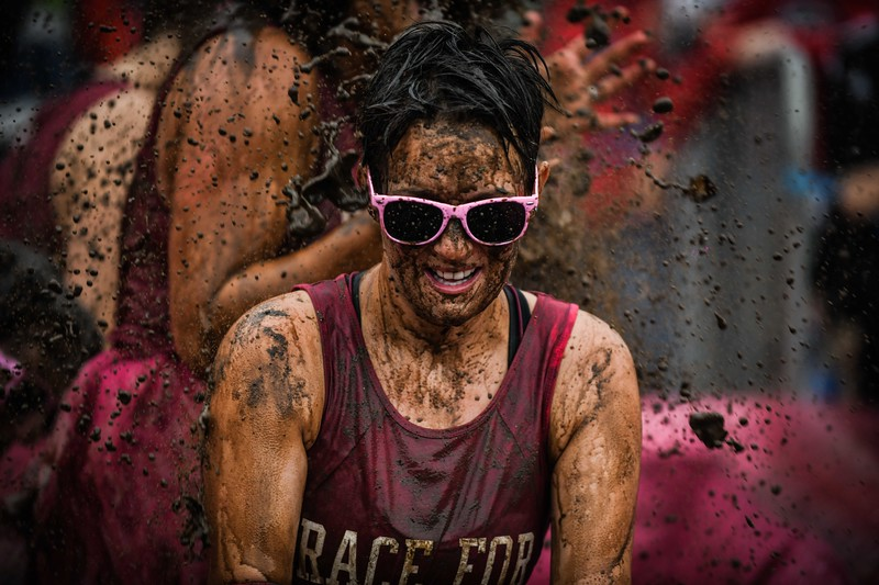 Cancer Research UK's Pretty Muddy event, Swansea.