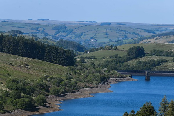 UK Weather: Dried reservoir, Brecon Beacons, Wales