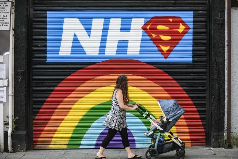 NHS mural, Swansea, Wales.