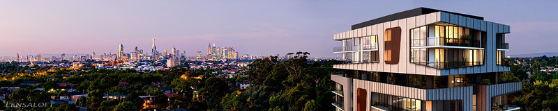 Tree tops and beyond - Working closely with 4D Studio we produced this dusk panorama for Element Apartments, highlighting views to the city and nesting the penthouse levels amongst neighbouring treetops.