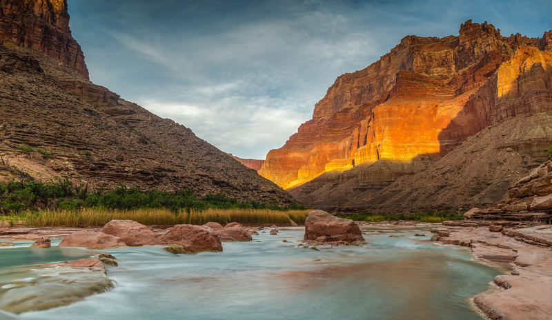 Sunrise Over the Little Colorado<br /> At the confluence of the Colorado and Little Colorado Rivers, River Mile 61, Grand Canyon National Park<br /> (Stitched Panorama)<br /> 2014