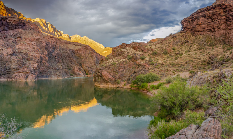 Last Light On The Granite Narrows<br /> Across Deer Creek, River Mile 136, Colorado River, Grand Canyon National Park<br /> (Stitched Panorama)<br /> 2014