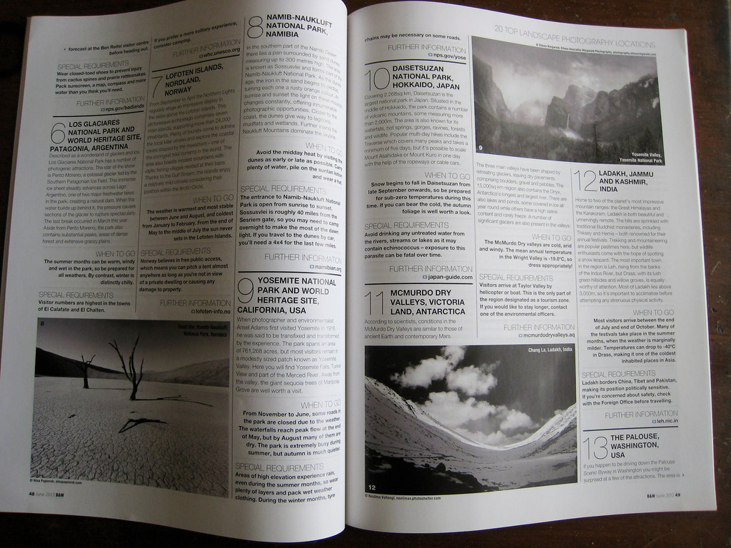 I was honored to have Black and White Photography magazine use one of my photos as the photo to represent Yosemite National Park in an article about the best places for landscape photography in their June 2012 issue. My photo is in the top right.