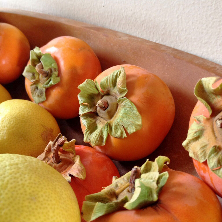 It's wonderful how we can get fruit year round in California. These persimmons and lemons are from a client's trees. We had a beautiful property photoshoot of her Montecito place and she sent me home with these.