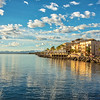 View from the harbor of Mision Hotel and Sea of Cortez shoreline, Loreto, Mexico