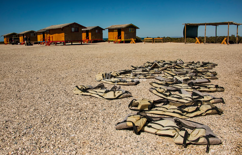 Life vests drying in the sun, Kuyimà Whale Camp