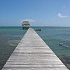 A pier into the clear blue water