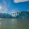 Sunstar over Patagonian ice field (Grey's glacier), on Grey's Lake, Torres del Paine National Park, Patagonia, Chile