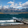 A pier on Lagunita Azul, Torres del Paine National Park, Patagonia, Chile