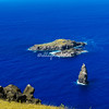 Easter Island The islands of Motu Iti and Motu Nui off the Rano Kau volcano. The islands are linked to the Legend of the Birdman of Easter Island.