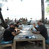 Felipe (driver) on left, and Jake in Playa Tamarindo at the Pangas Restaurant. BTA moment for David. He really loved this place.