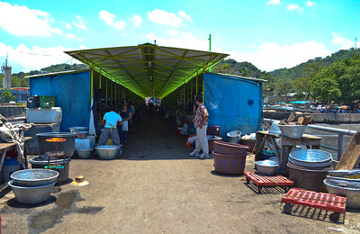 Everything goes right into the fish market on the pier