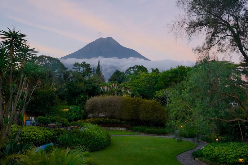 Guatemala Fuego volcano at sunrise