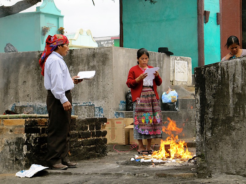 Pagan ceremony removing evil spirits at the cemetary in Chi Chi Castenango