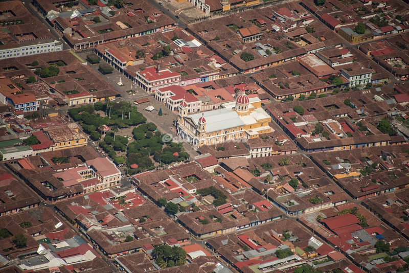 Aerial View, Central Square and Basilica, Granada, Nicaragua