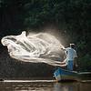 A fisherman casting his net, Las Isletas, Lake Nicaragua