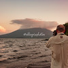 Photographing the sunset over the Maderas volcano on Ometepe Island, Lake Nicaragua