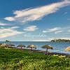 Umbrellas along the beach of Villa Paraiso, Ometepe Island