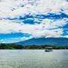 A pleasure boat on Lake Nicaragua in the shadow of the Masaya Volcano