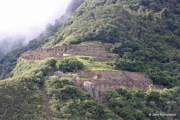 Choquequirao - Upper plaza with water channel serving lower plaza